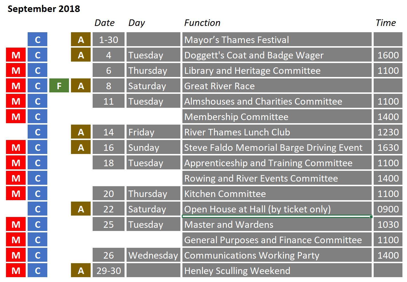 Calendar - September 2018 - Watermen and Lightermen